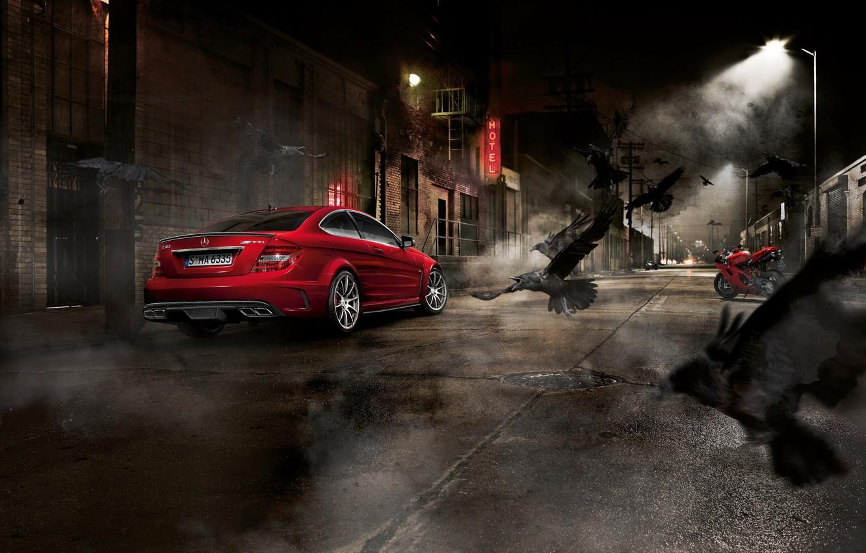 Photo wallpaper night, crows, Mercedes, sportbike, Mercedes Benz C63