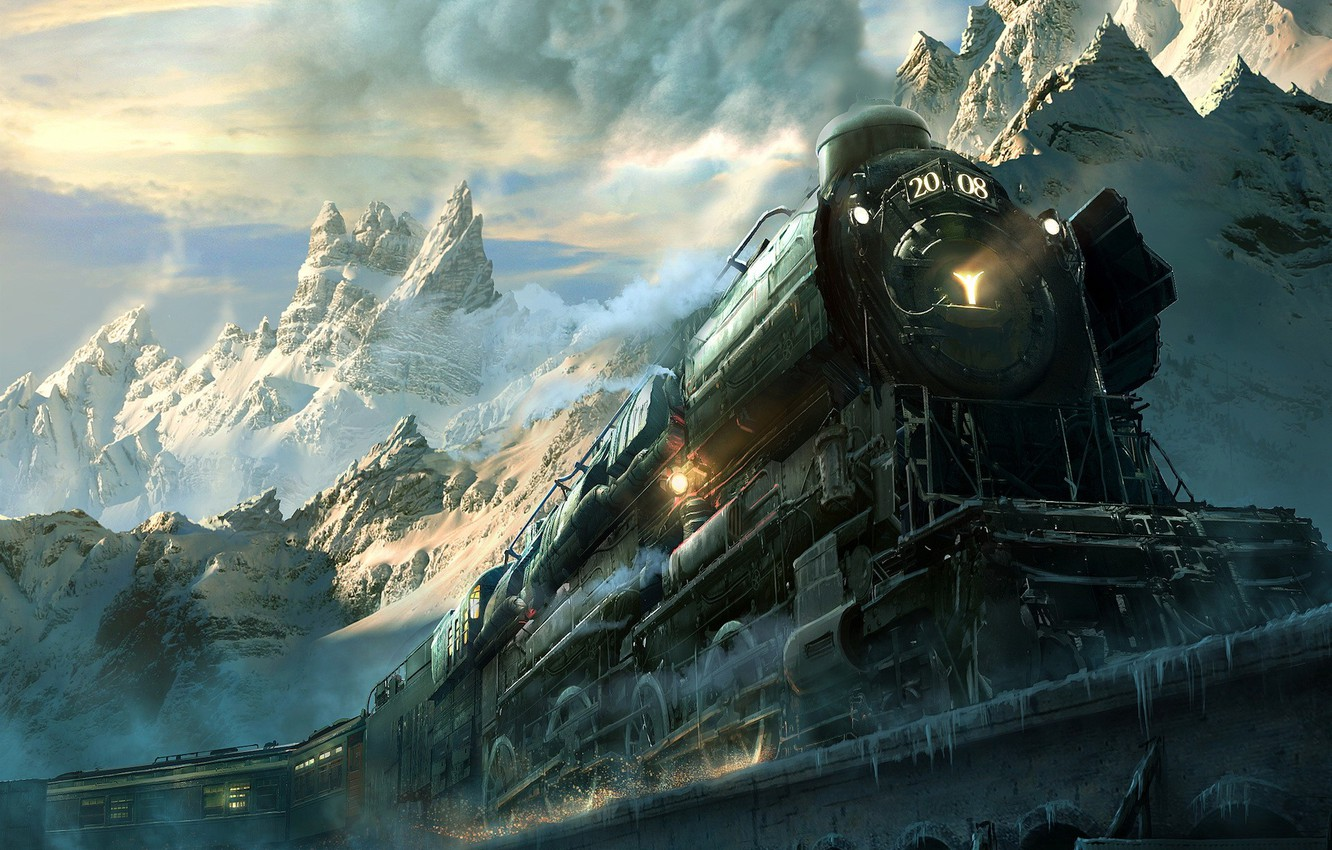 Photo wallpaper road, mountains, the engine, locomotive, iron