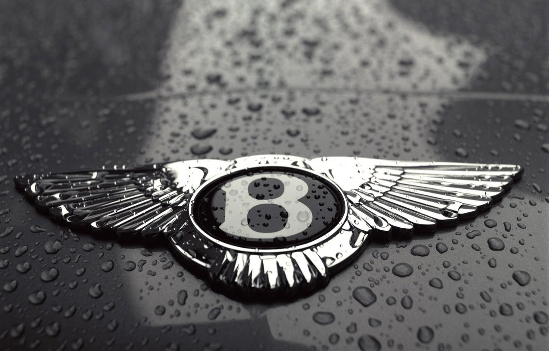 Photo wallpaper drops, black and white, Bentley, logo
