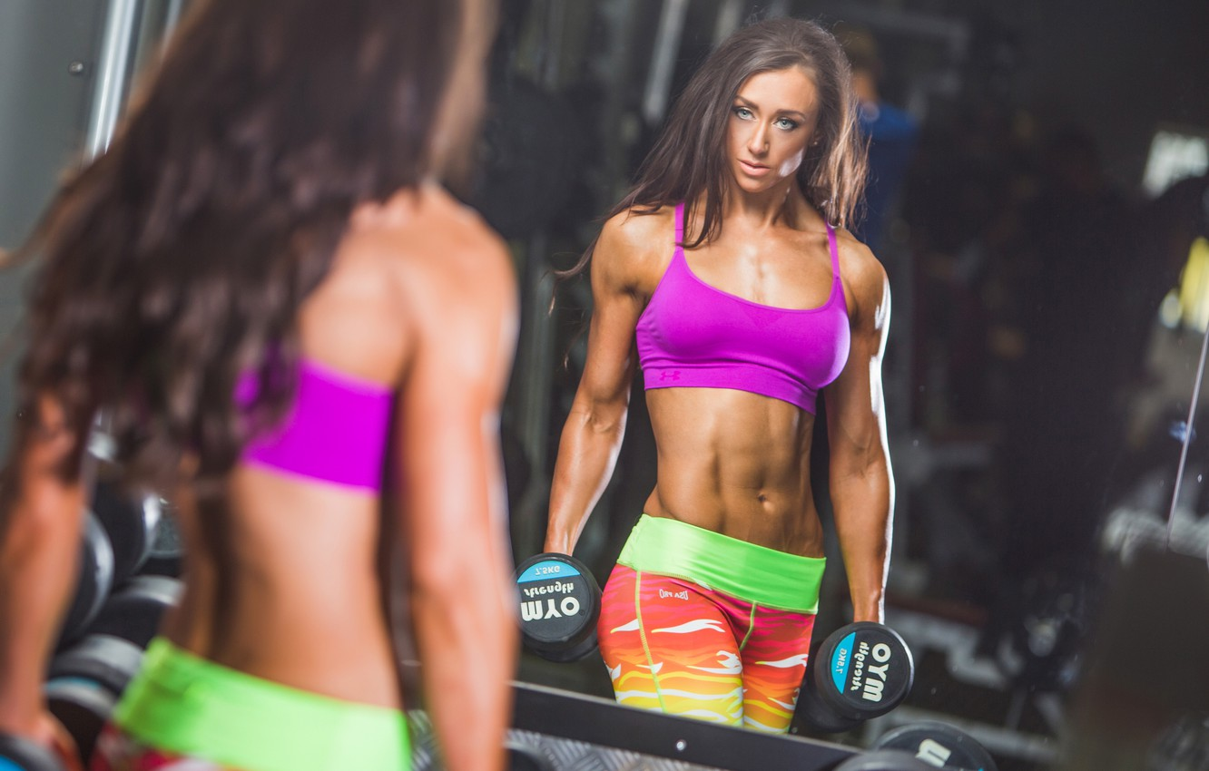 Photo wallpaper reflection, mirror, workout, fitness, abs, dumbbell, bodybuilder