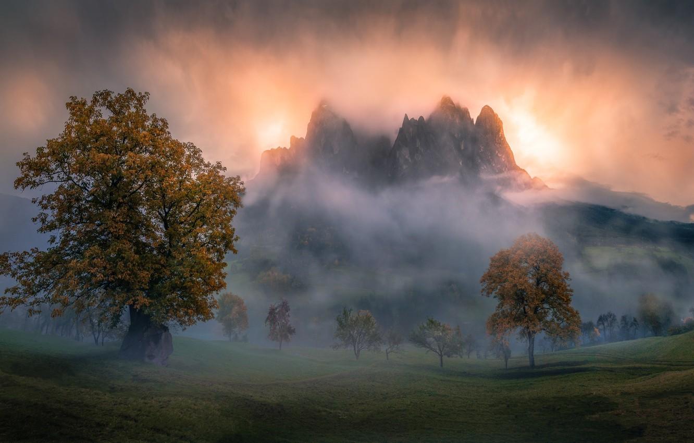 Photo wallpaper autumn, mountains, fog, morning