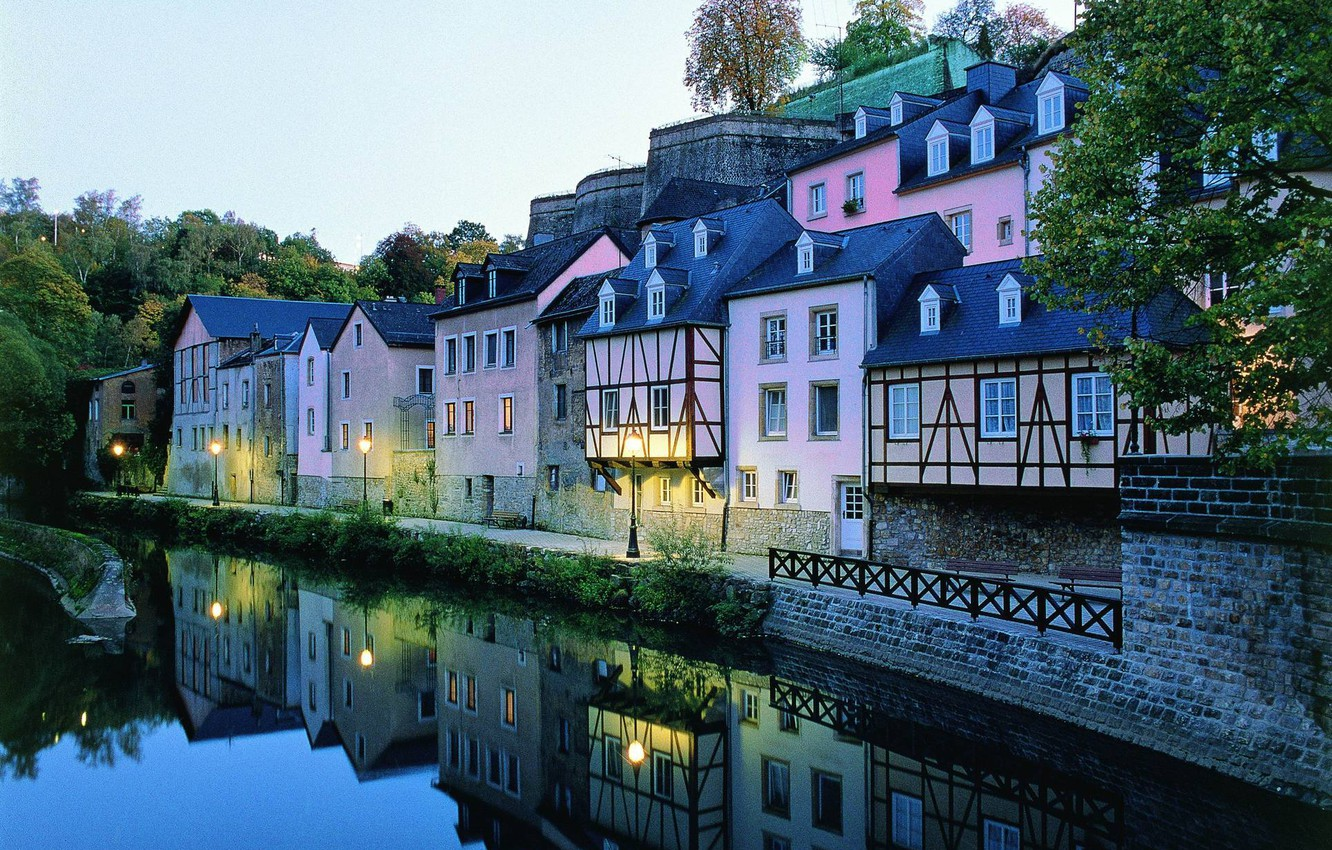 Photo wallpaper water, trees, landscape, reflection, beauty, roof, lights, houses, Luxembourg