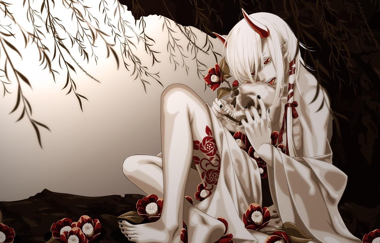 Photo wallpaper skull, the demon, art, horns, guy, yukata, yukata, yone kazuki