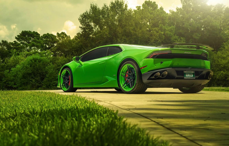 Photo wallpaper Lamborghini, Green, Color, Supercar, Wheels, Rear, ADV.1, Huracan, LP610-4
