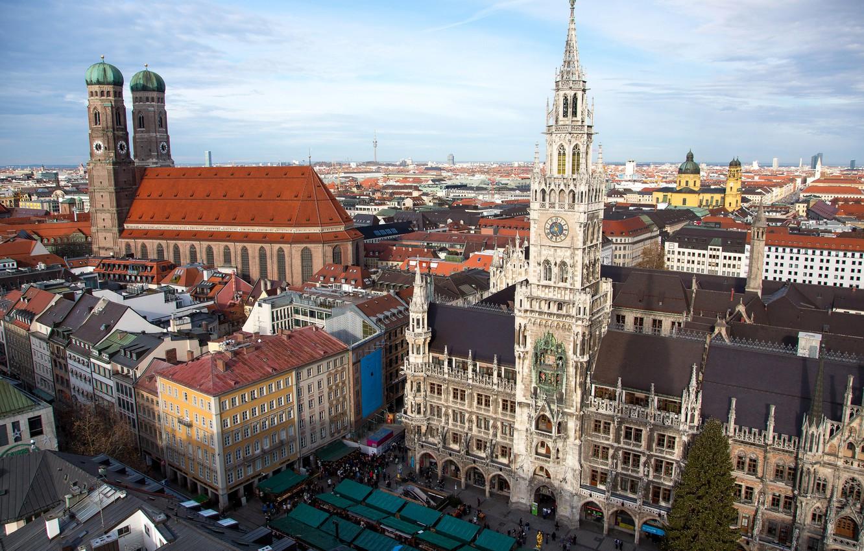 Photo wallpaper the sky, tower, home, Germany, Munich, area, Church, panorama, Marienplatz, new town hall