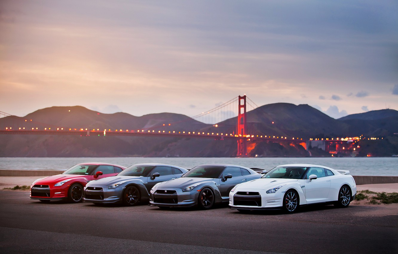 Photo wallpaper sea, the sky, bridge, lights, the evening, GTR, Golden gate, Nissan, Nissan, R35, gtr, P35, …