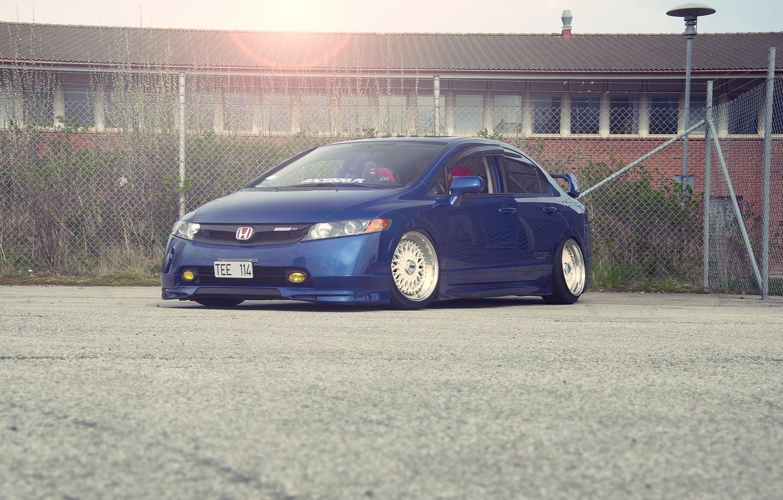 Photo wallpaper blue, honda, Honda, blue, civic, civic