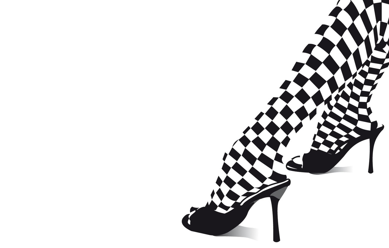 Photo wallpaper black and white, heels, legs