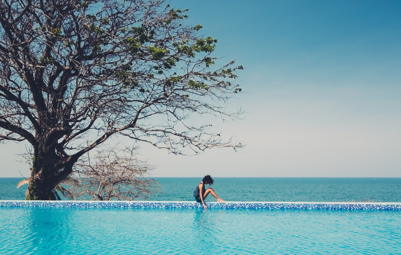 Photo wallpaper sea, girl, tree, the ocean, pool, sitting, curls, curls