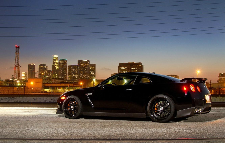 Photo wallpaper the city, lights, supercar, black, R35, Nissan GTR