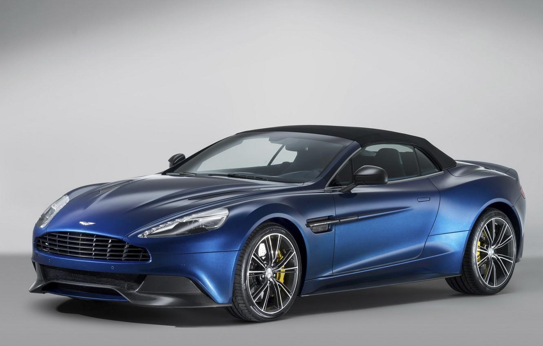 Photo wallpaper Aston Martin, supercar, blue, fon, Vanquish, Volante