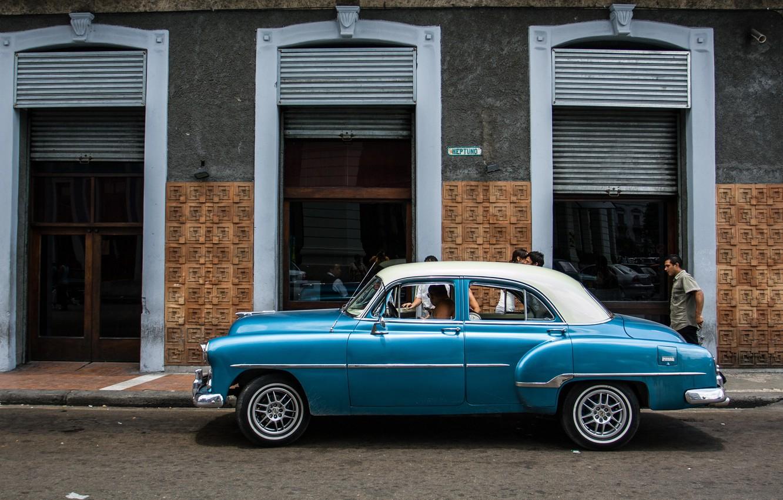 Photo wallpaper car, old, street, classic, Cuba, Havana