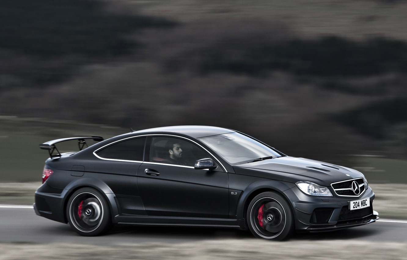 Photo wallpaper England, Mercedes-Benz, Road, Germany, Sport, Speed, Wallpaper, AMG, Coupe, Mercedes-Benz, Black Series, C63, Coupe, AMG, ...