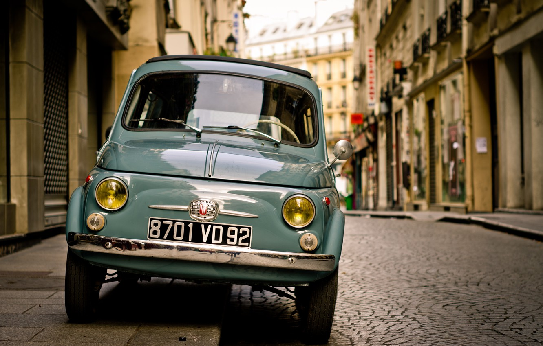 Photo wallpaper Car, Street, Fiat, Town