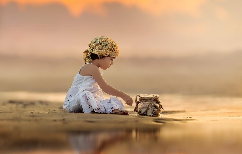 Photo wallpaper sunset, river, girl