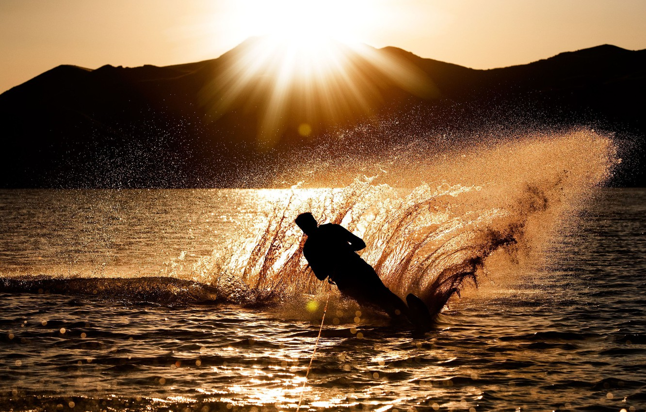 Photo wallpaper sea, wave, water, the sun, sunset, squirt, background, the ocean, sport, silhouette, male, guy, widescreen, …