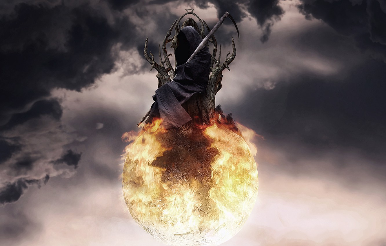 Photo wallpaper the sky, clouds, death, fire, ball, art, braid, sphere, the throne