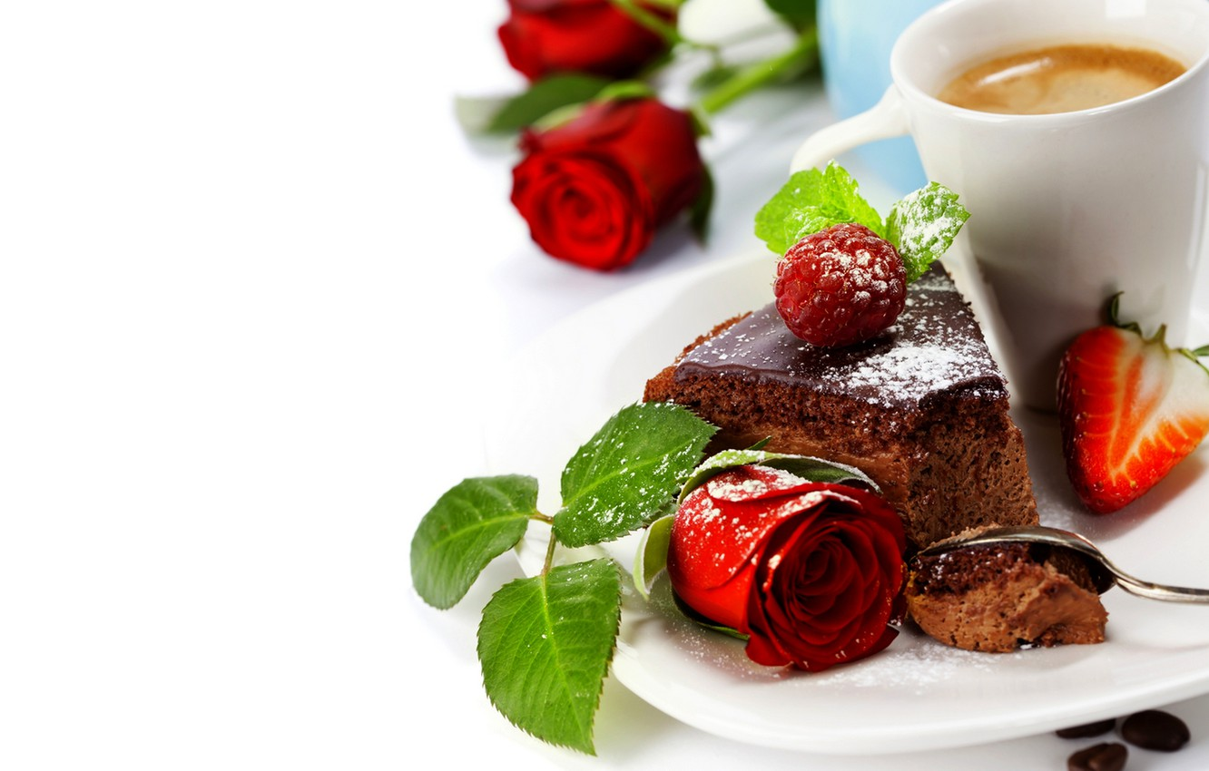 Photo wallpaper flowers, raspberry, coffee, roses, strawberry, Cup, cake, rose, fruit, cake, flower, dessert, cup, fruit, strawberry, …