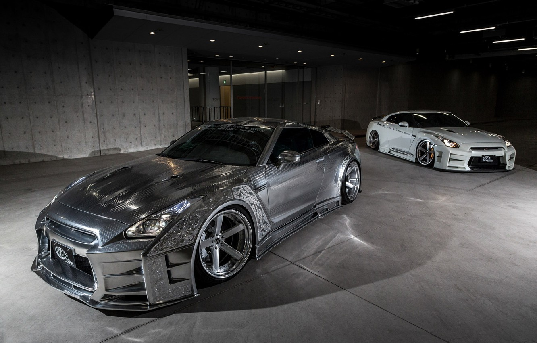 Photo wallpaper GTR, Nissan, Racing, White, Silver, 2, &, Kuhl