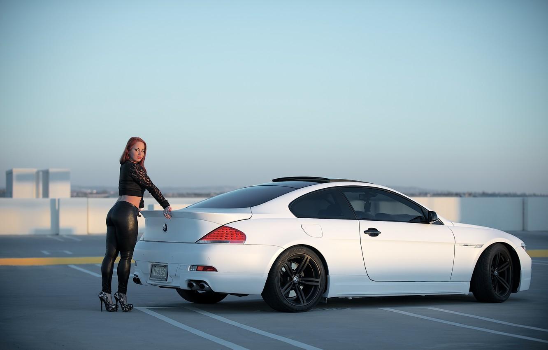 Photo wallpaper white, ass, girl, bmw, BMW, girl, white, legs, rear view, e63