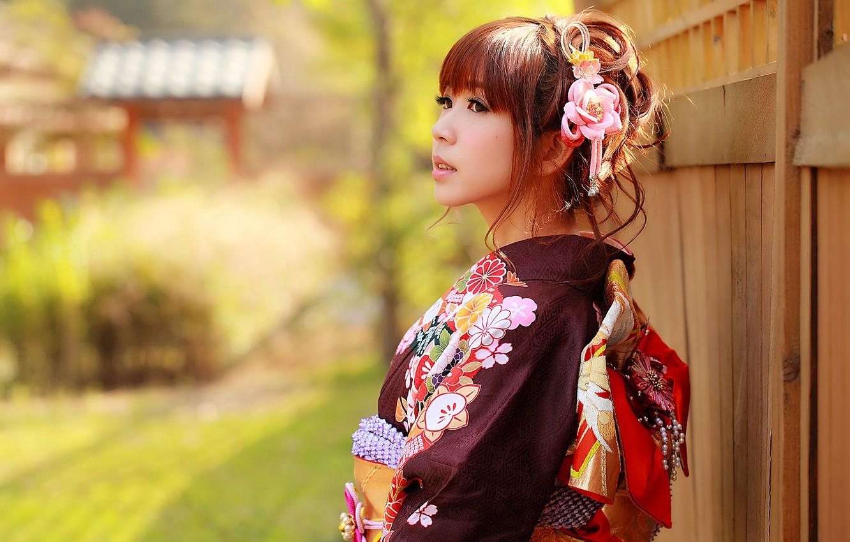 Photo wallpaper look, girl, face, style, clothing, kimono, Asian