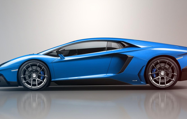 Photo wallpaper blue, reflection, Lamborghini, Lamborghini, blue, LP700-4, Aventador, Lamborghini, aventador, LB834, profile, Jackdarton