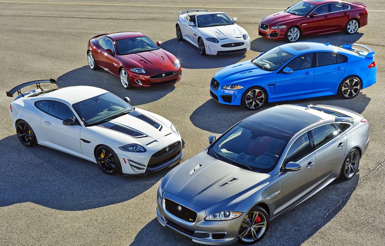Photo wallpaper background, Jaguar, Jaguar, Convertible, XKR-S, lineup, XFR-S, XJR