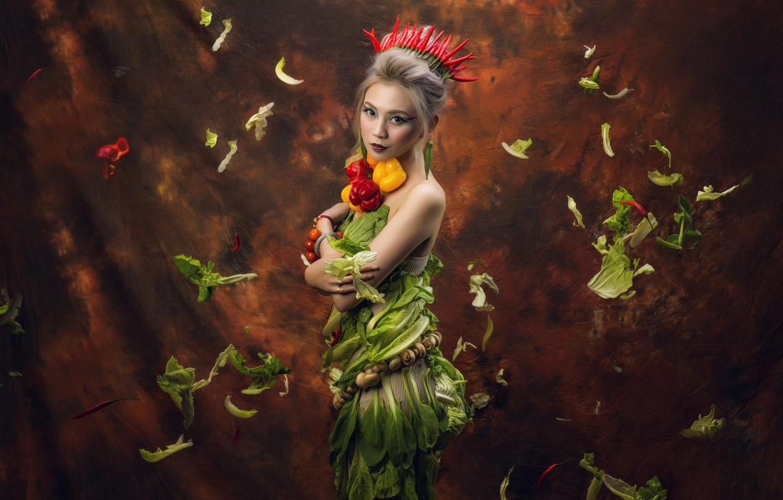 Photo wallpaper look, leaves, girl, style, background, mushrooms, crown, makeup, pepper, Asian, vegetables, salad, paprika