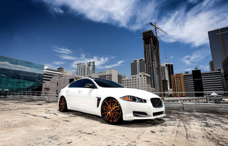Photo wallpaper Jaguar, wheels, sky, Forgiato