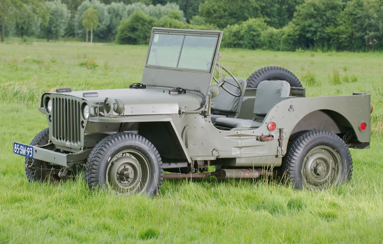 Photo wallpaper grass, trees, jeep, SUV, green, the front, 1942, Willys, Willis