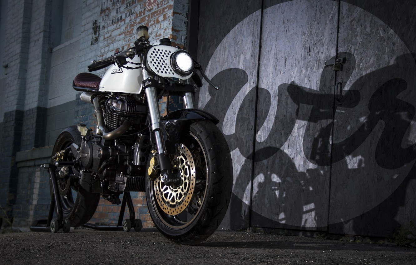 Photo wallpaper honda, motorcycle, cafe racer, cm450, wrenchmonkees