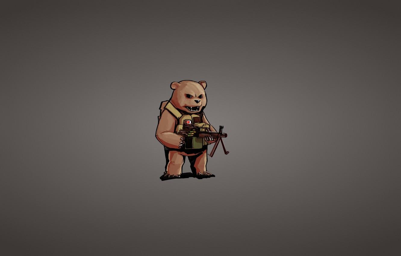 Photo wallpaper weapons, minimalism, bear, machine gun, sight, bear
