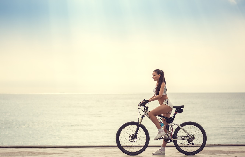 Photo wallpaper girl, bike, sport, profile