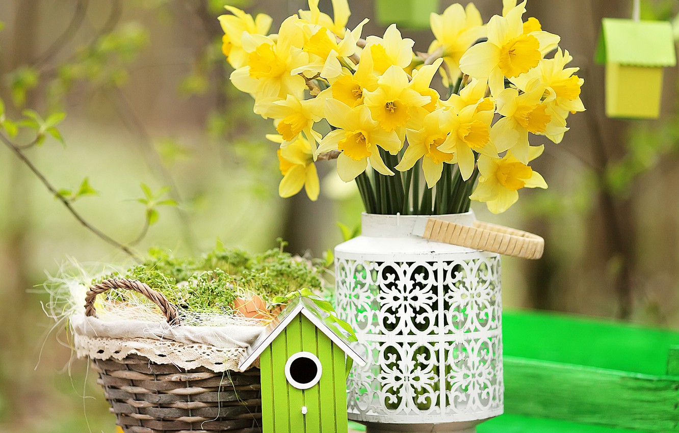 Wallpaper Basket Bouquet Spring Yellow Daffodils Daffodils Images For Desktop Section Cvety Download