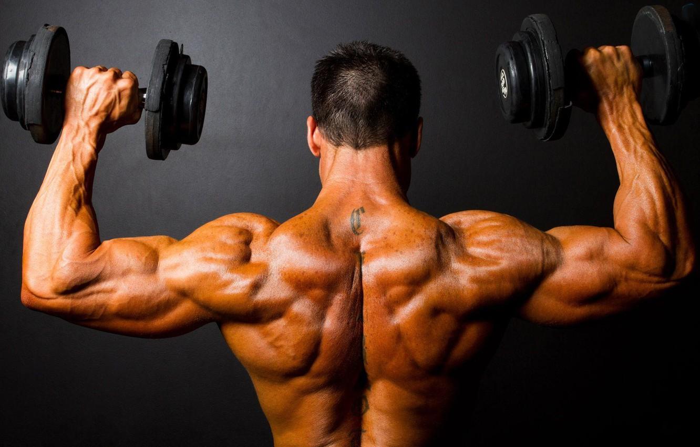 Photo wallpaper tattoo, athlete, dumbbells, Bodybuilding