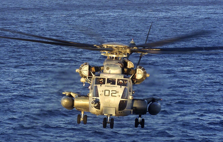 Photo wallpaper sea, CH-53 Sea Stallion, heavy transport helicopter