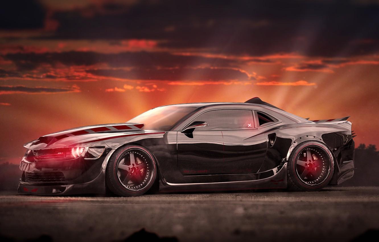 Photo wallpaper Chevrolet, Muscle, Camaro, Car, Front, Evil