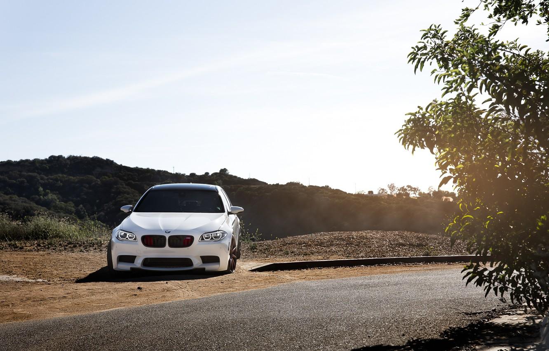 Photo wallpaper road, white, bmw, BMW, turn, white, f10, tinted