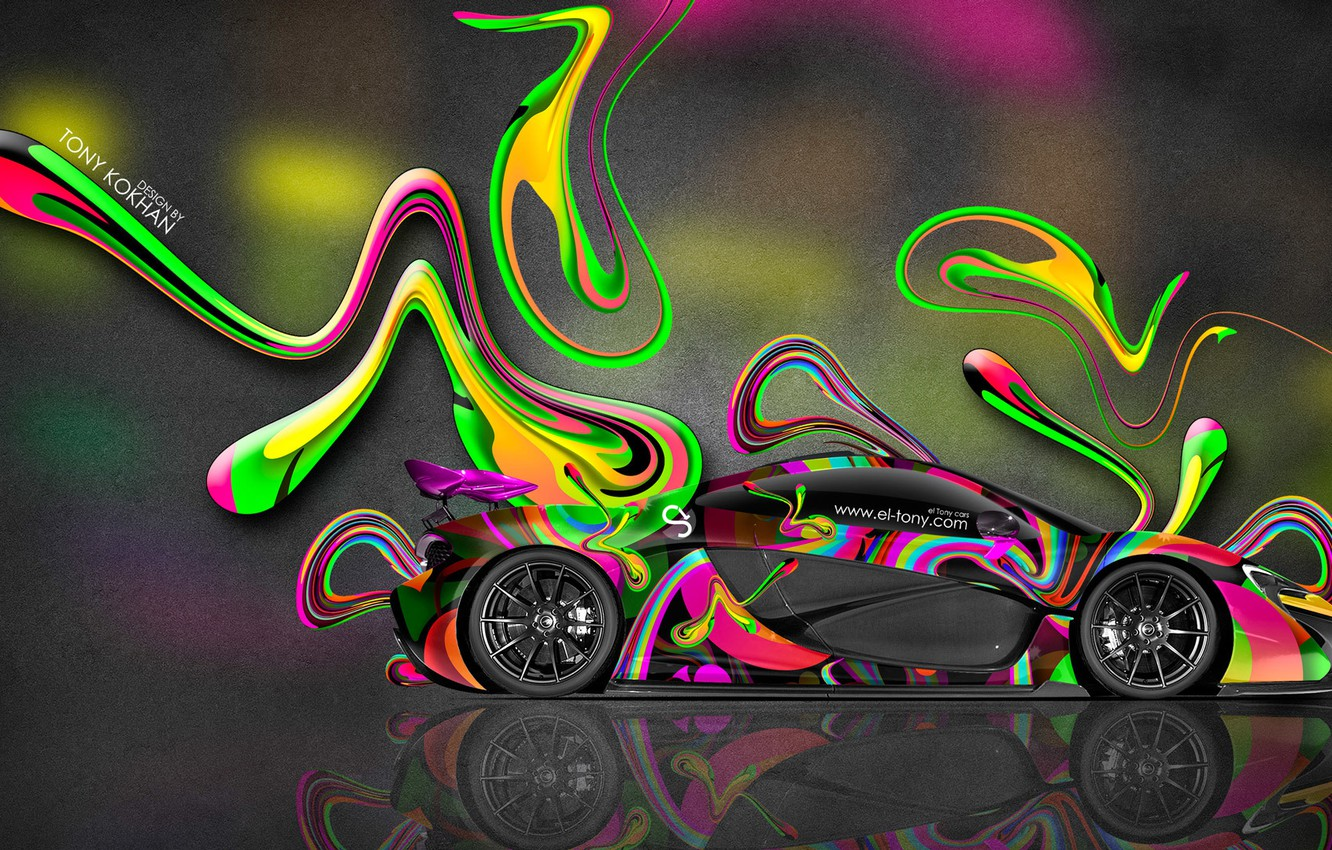 Photo wallpaper McLaren, Machine, Bright, Style, McLaren, Wallpaper, Abstract, Photoshop, Photoshop, Abstract, Wallpapers, Side, 2014, Colorful, el …