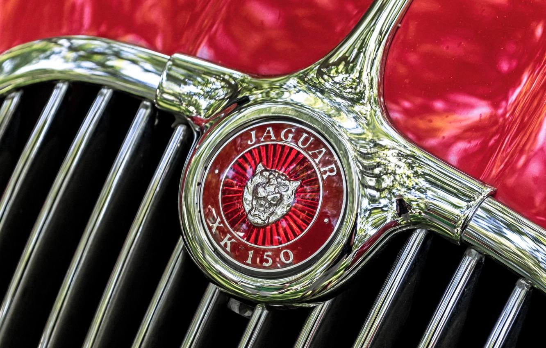 Photo wallpaper macro, retro, Jaguar, emblem, 1957, XK 150