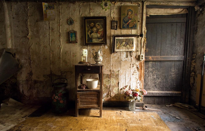 Photo wallpaper room, the door, icons