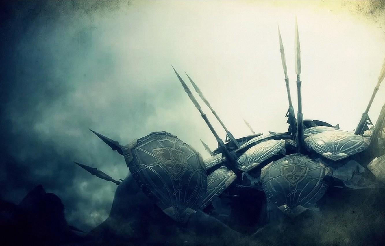Photo wallpaper fantasy, spear, shield, Art