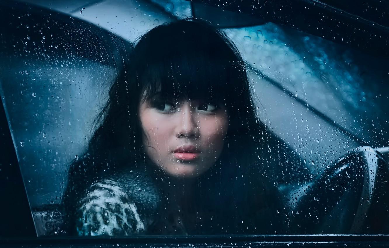 Photo wallpaper sadness, girl, drops, rain, window