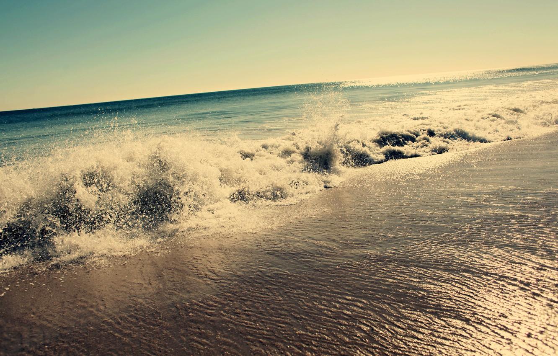 Photo wallpaper wave, squirt, the ocean