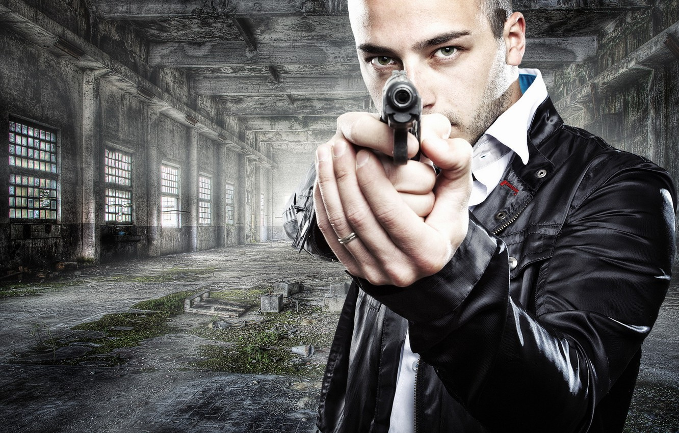 Photo wallpaper gun, weapons, the situation, guy