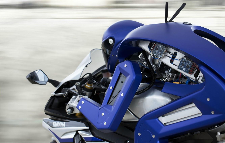 Photo wallpaper wallpaper, robot, Yamaha, blue, motorcycle, race, speed, test, asphalt, wires, Technology, drone, high technology, cutting-edge …