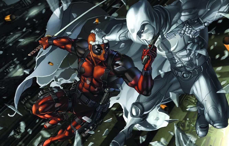 Photo wallpaper gun, art, Deadpool, Marvel, Wade Wilson, THE MOON KNIGHT