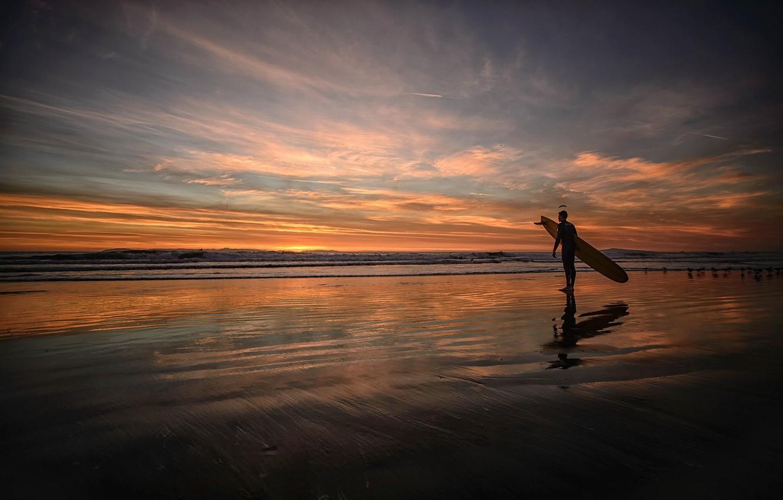 Photo wallpaper HORIZON, The SKY, SAND, SURFER, SHORE, SURFING, DAL, DAWN, BOARD