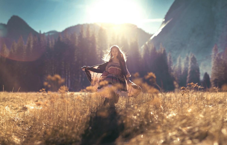 Photo wallpaper field, summer, girl, light