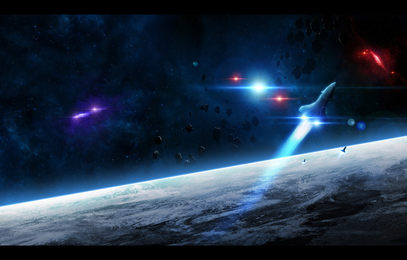 Photo wallpaper stars, light, earth, planet, the atmosphere, asteroids, missiles, start